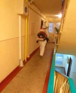 La Târgoviște a început dezinfectarea scărilor de bloc.
