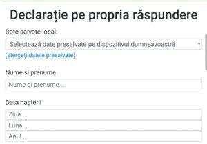 COMPLETEAZĂ DECLARAȚIA PE PROPIA RĂSPUNDERE, PE TELEFON, ÎN STAREA DE ALERTĂ!
