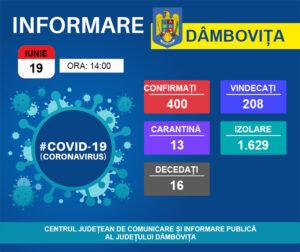 19 IUNIE 2020, COVID -19- VEZI SITUAȚIA DIN DÂMBOVIȚA!