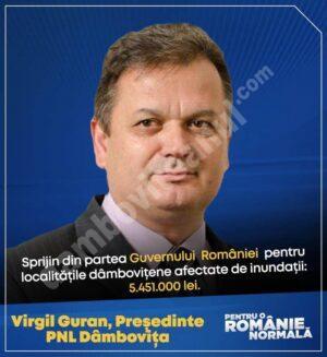 VIRGIL GURAN (PNL): Mesajul este foarte clar – Guvernul României va fi alături de cetăţenii săi, va ajuta comunităţile locale…