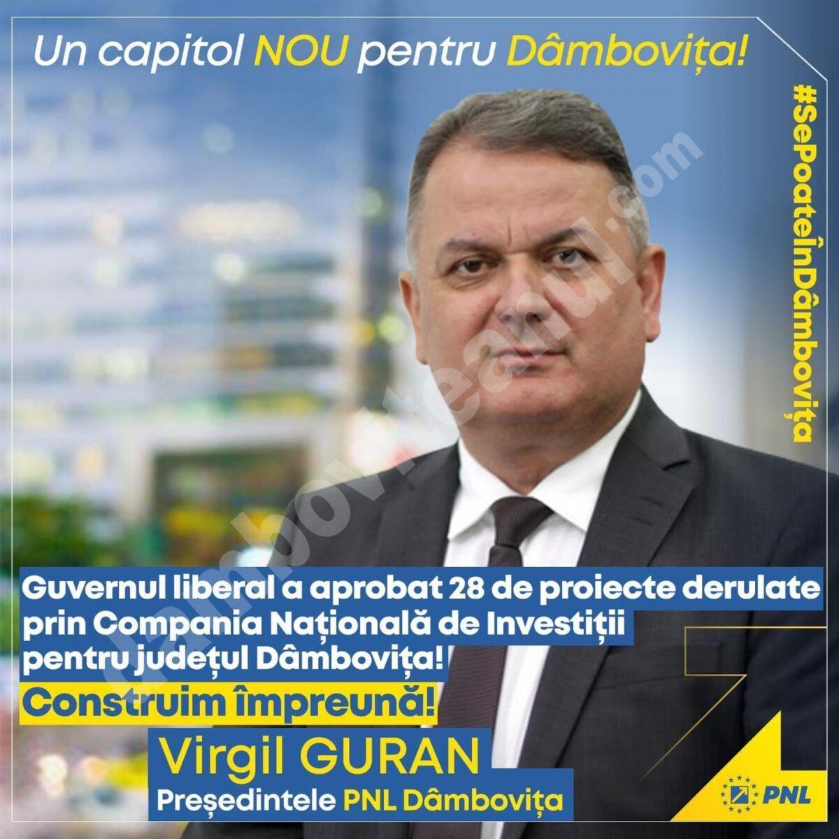 Virgil Guran aduce vești bune: 28 de noi obiective de investiții din 25 de comune dâmbovițene au primit finanțare de la Guvern prin Compania Națională de Investiții