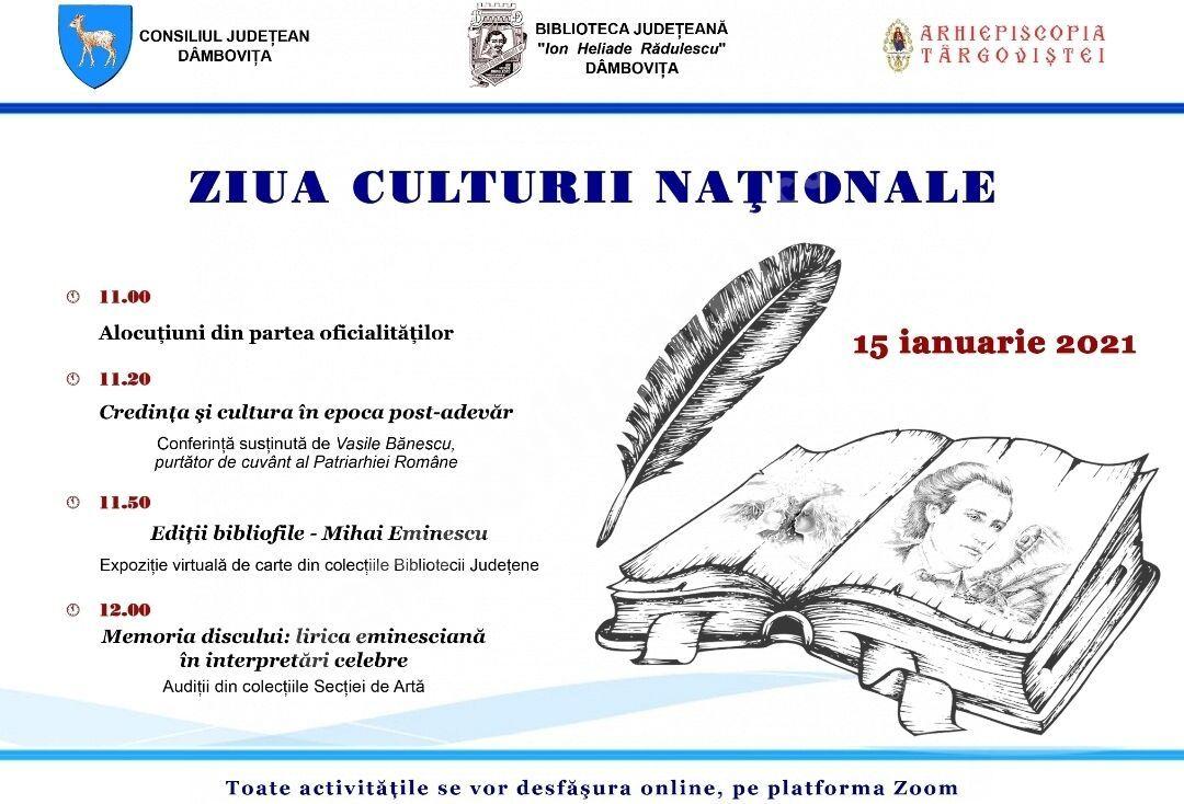 """Manifestări organizate de Biblioteca Județeană """" I. H. Rădulescu"""", cu prilejul Zilei Culturii Naționale"""