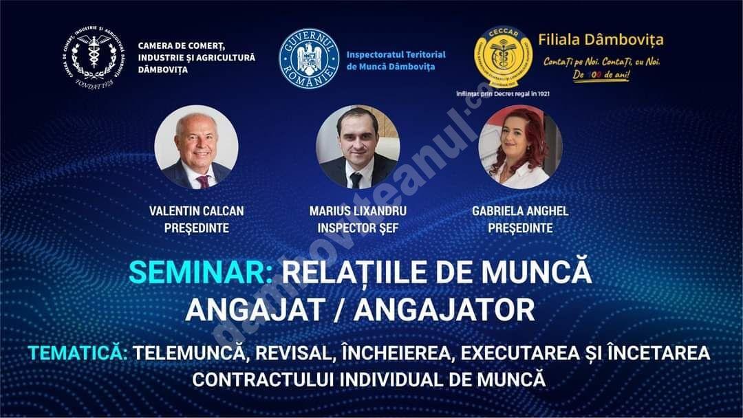 Seminar despre relațiile de muncă, în martie, la Târgoviște