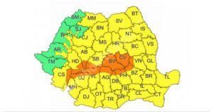Cod Galben de precipitații, în Dâmbovița și cod portocaliu, în alte 13 județe