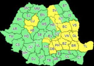Read more about the article DÂMBOVIȚA: COD GALBEN DE VREME CAPRICIOASĂ, CU VIJELII ȘI GRINDINĂ!